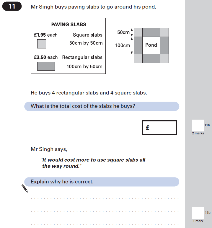 Question 11 Maths KS2 SATs Papers 2002 - Year 6 Sample Paper 1, Geometry, Square, Rectangle, Money