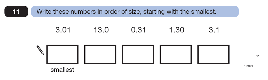 Question 11 Maths KS2 SATs Papers 2007 - Year 6 Practice Paper 2, Numbers, Order and Compare Numbers, Decimals