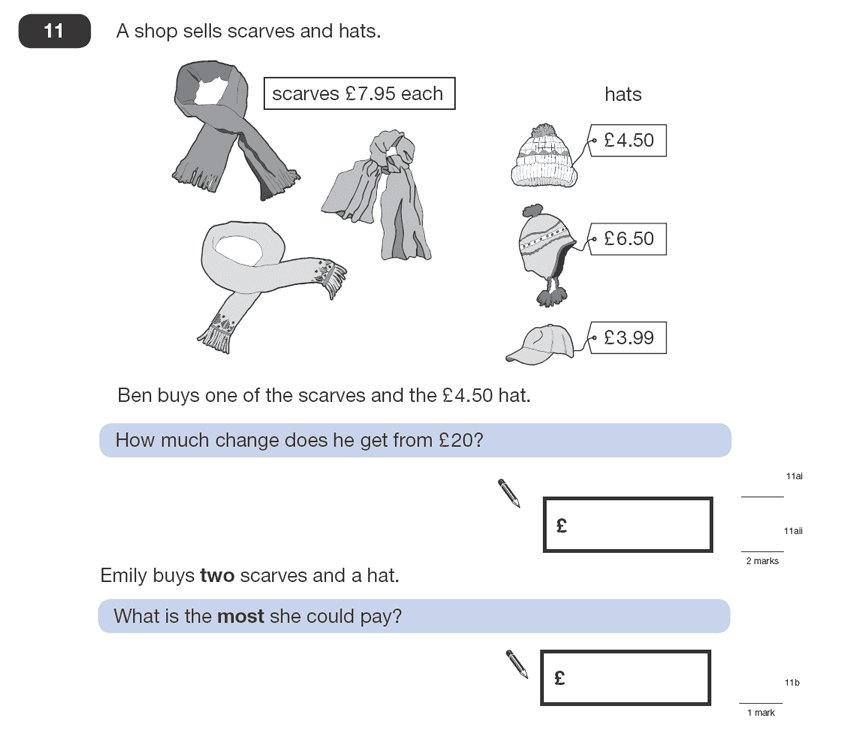 Question 11 Maths KS2 SATs Papers 2008 - Year 6 Practice Paper 1, Numbers, Addition, Subtraction, Word Problems, Money