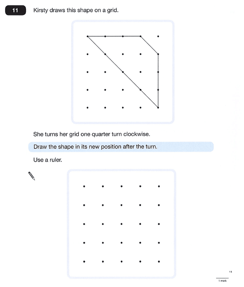 Question 11 Maths KS2 SATs Papers 2012 - Year 6 Practice Paper 1, Geometry, 2D shapes, Rotations