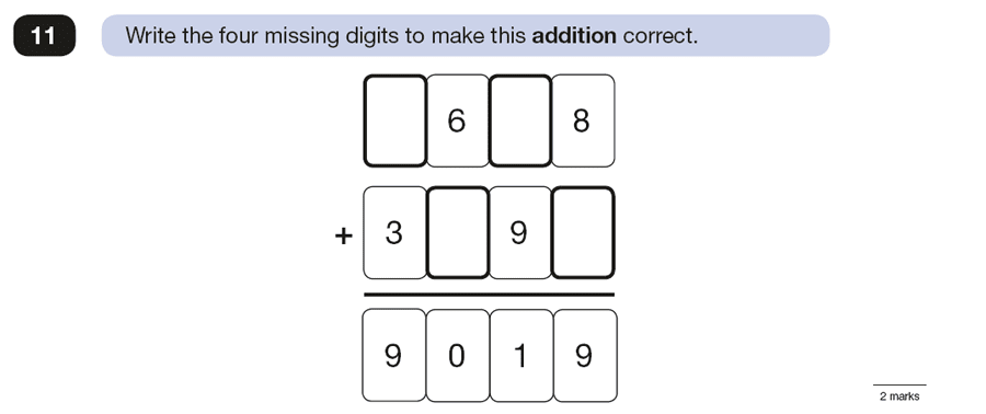 Question 11 Maths KS2 SATs Papers 2016 - Year 6 Exam Paper 3 Reasoning, Numbers, Missing Digits, Addition