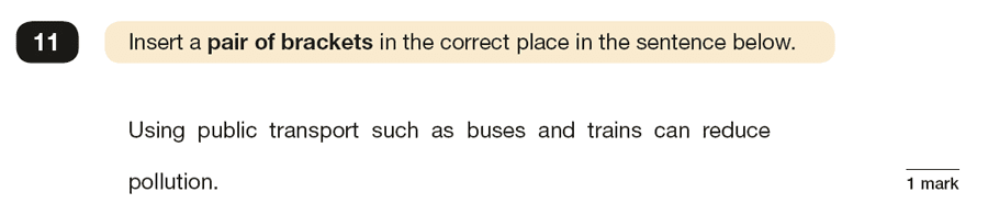 Question 11 SPaG KS2 SATs Papers 2019 - Year 6 English Past Paper 1, Punctuation