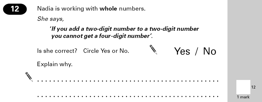 Question 12 Maths KS2 SATs Papers 2000 - Year 6 Practice Paper 2, Numbers, Addition, Logical Problems