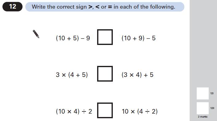 Question 12 Maths KS2 SATs Papers 2005 - Year 6 Exam Paper 1, Algebra, BIDMAS