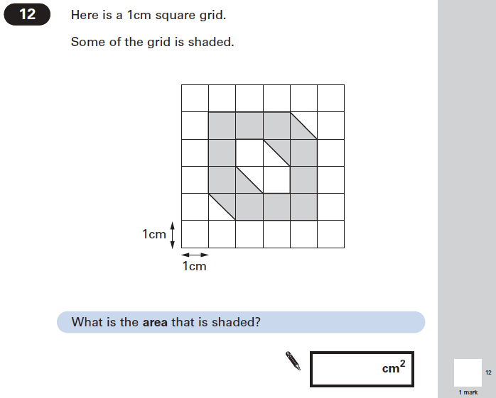 Question 12 Maths KS2 SATs Papers 2005 - Year 6 Exam Paper 2, Geometry, Square, Area & Perimeter