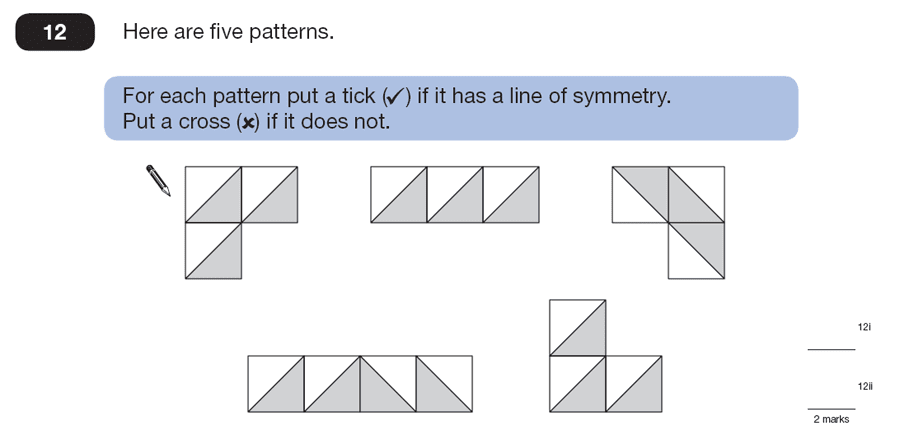 Question 12 Maths KS2 SATs Papers 2007 - Year 6 Past Paper 1, Numbers, Fractions, Geometry, 2D shapes