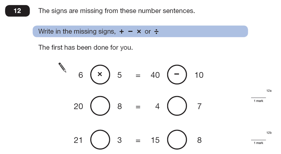 Question 12 Maths KS2 SATs Papers 2007 - Year 6 Past Paper 2, Algebra, BIDMAS
