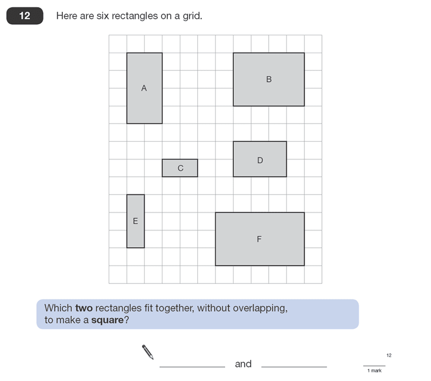 Question 12 Maths KS2 SATs Papers 2008 - Year 6 Exam Paper 1, Geometry, Rectangle, Square, Logical Problems