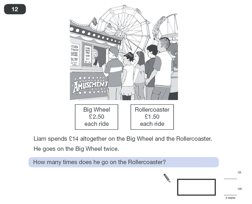 Question 12 Maths KS2 SATs Papers 2010 - Year 6 Past Paper 1, Numbers, Word Problems, Algebra, Linear Equations, Money