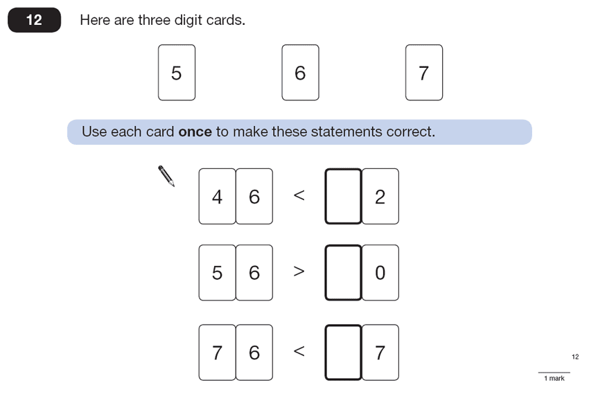 Question 12 Maths KS2 SATs Papers 2013 - Year 6 Exam Paper 2, Numbers, Order and Compare Numbers