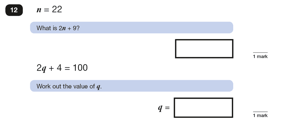 Question 12 Maths KS2 SATs Papers 2016 - Year 6 Exam Paper 2 Reasoning, Algebra, Substitution