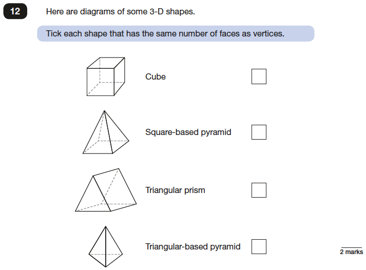 Question 12 Maths KS2 SATs Papers 2017 - Year 6 Exam Paper 2 Reasoning, Geometry, 3D shapes