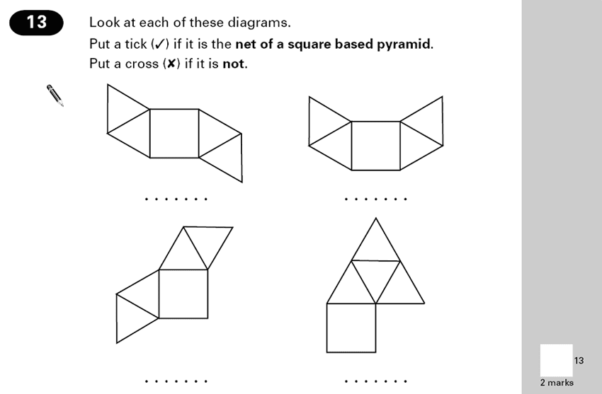 Question 13 Maths KS2 SATs Papers 2000 - Year 6 Exam Paper 2, Geometry, Nets of Solids