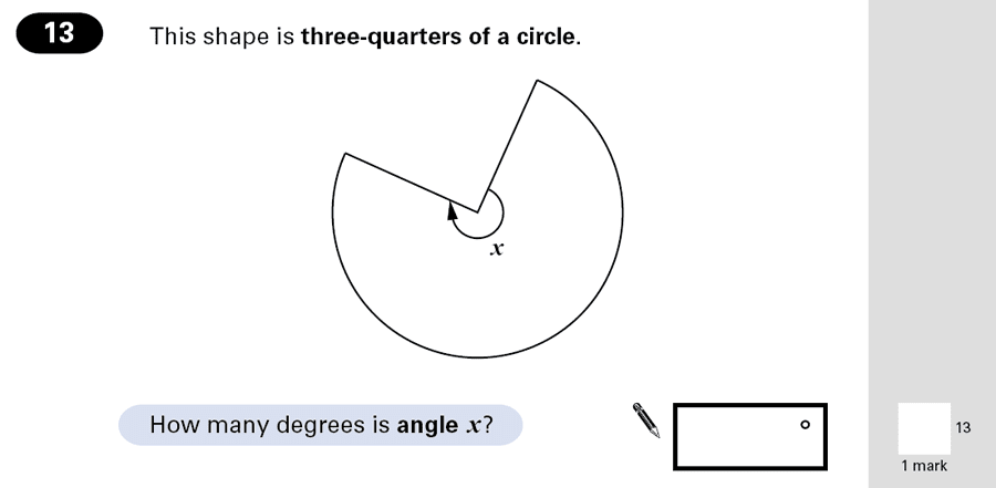 Question 13 Maths KS2 SATs Papers 2001 - Year 6 Exam Paper 1, Geometry, Circle, Angles
