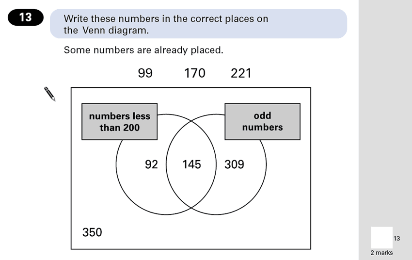 Question 13 Maths KS2 SATs Papers 2001 - Year 6 Exam Paper 2, Numbers, Even and odd Numbers, Statistics, Venn Diagrams