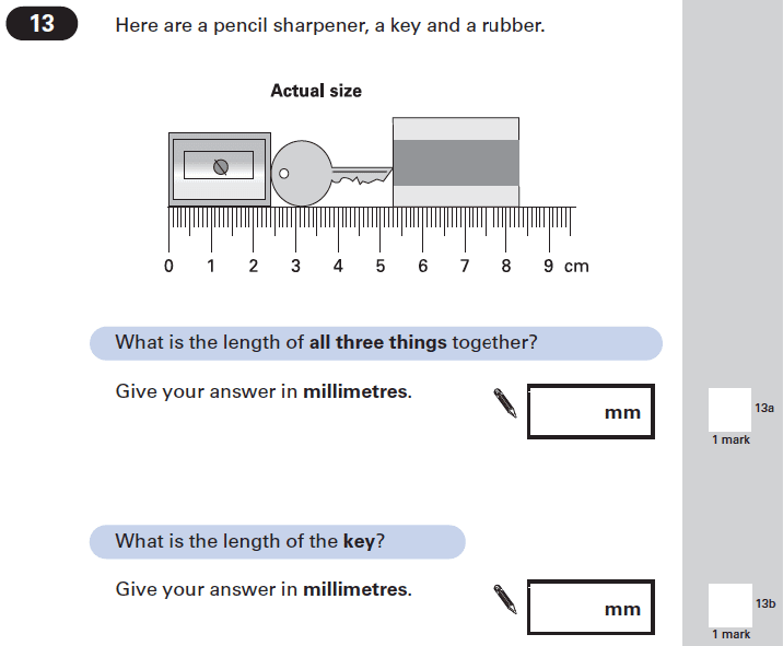 Question 13 Maths KS2 SATs Papers 2002 - Year 6 Exam Paper 1, Measurement, Scale reading