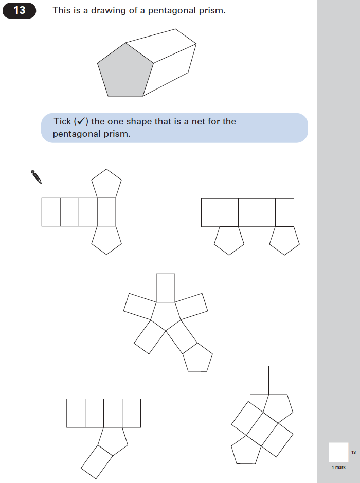 Question 13 Maths KS2 SATs Papers 2004 - Year 6 Practice Paper 1, Geometry, 3D shapes, Nets of Solids
