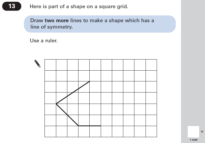 Question 13 Maths KS2 SATs Papers 2005 - Year 6 Practice Paper 1, Geometry, 2D shapes, Lines of Symmetry