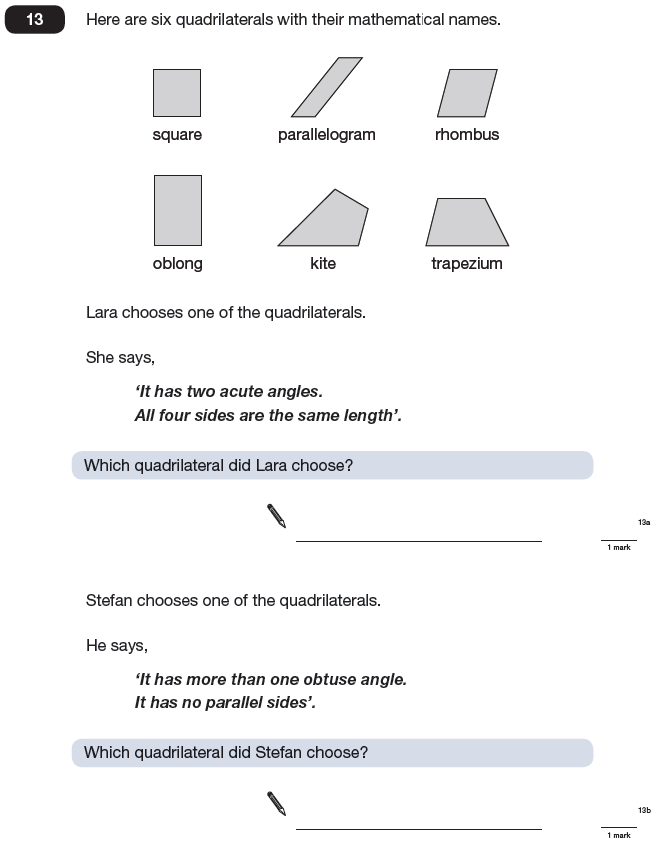 Question 13 Maths KS2 SATs Papers 2009 - Year 6 Past Paper 1, Geometry, Angles, Polygons
