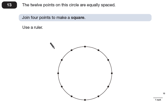 Question 13 Maths KS2 SATs Papers 2009 - Year 6 Past Paper 2, Geometry, Circle, Diagram drawing, Logical Problems