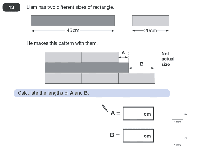 Question 13 Maths KS2 SATs Papers 2010 - Year 6 Practice Paper 1, Geometry, 2D shapes, Rectangle