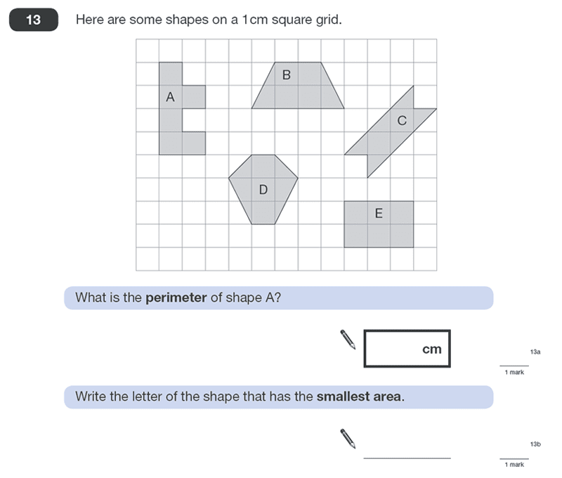 Question 13 Maths KS2 SATs Papers 2011 - Year 6 Practice Paper 1, Geometry, 2D shapes, Area & Perimeter