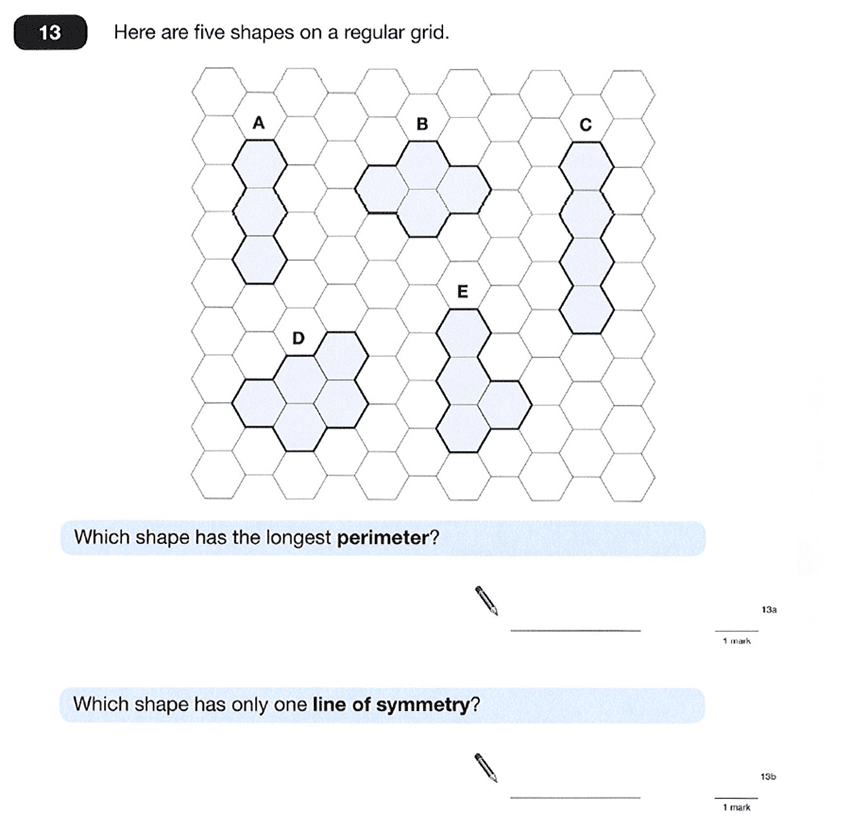 Question 13 Maths KS2 SATs Papers 2012 - Year 6 Past Paper 1, Geometry, Area & Perimeter, 2D shapes, Lines of Symmetry