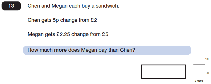 Question 13 Maths KS2 SATs Papers 2014 - Year 6 Past Paper 1, Numbers, Subtraction, Word Problems, Measurement, Currency Conversions, Money