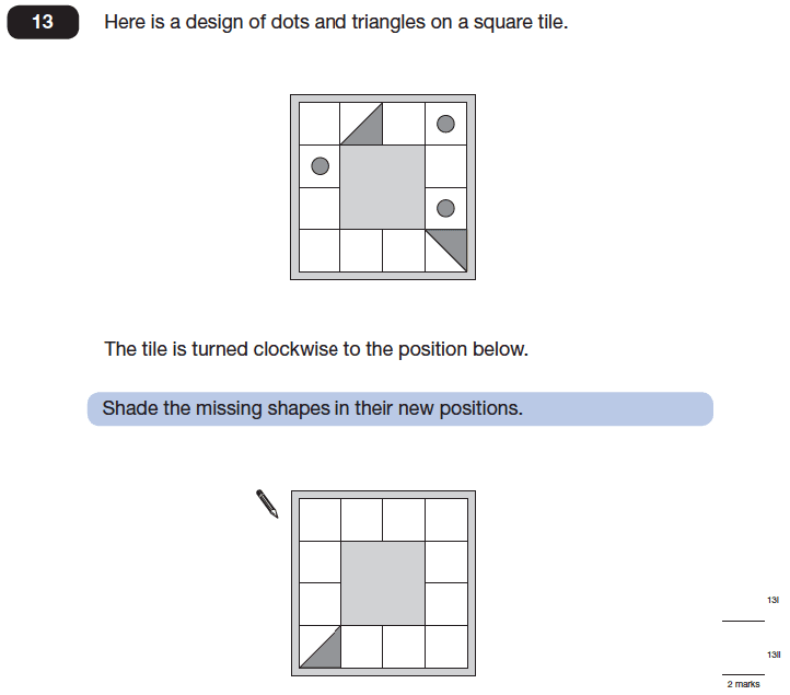 Question 13 Maths KS2 SATs Papers 2014 - Year 6 Past Paper 2, Geometry, Rotations