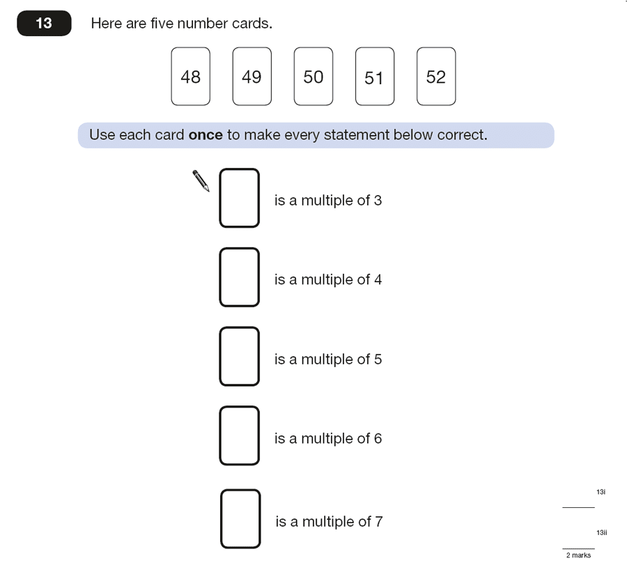 Question 13 Maths KS2 SATs Papers 2015 - Year 6 Practice Paper 2, Numbers, Multiples