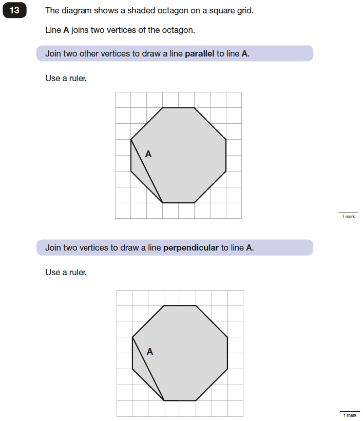 Question 13 Maths KS2 SATs Papers 2016 - Year 6 Sample Paper 2 Reasoning, Geometry, Perpendiculars, Polygons
