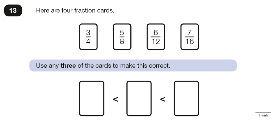 Question 13 Maths KS2 SATs Papers 2016 - Year 6 Sample Paper 3 Reasoning, Numbers, Order and Compare Numbers, Fractions