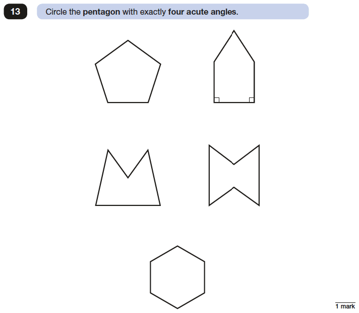 Question 13 Maths KS2 SATs Papers 2017 - Year 6 Past Paper 3 Reasoning, Geometry, Angles, Polygons, 2D shapes