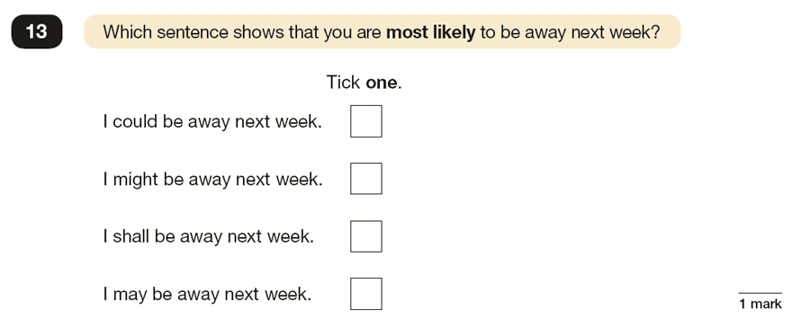Question 13 SPaG KS2 SATs Papers 2016 - Year 6 English Practice Paper 1, Verb forms, tenses and consistency