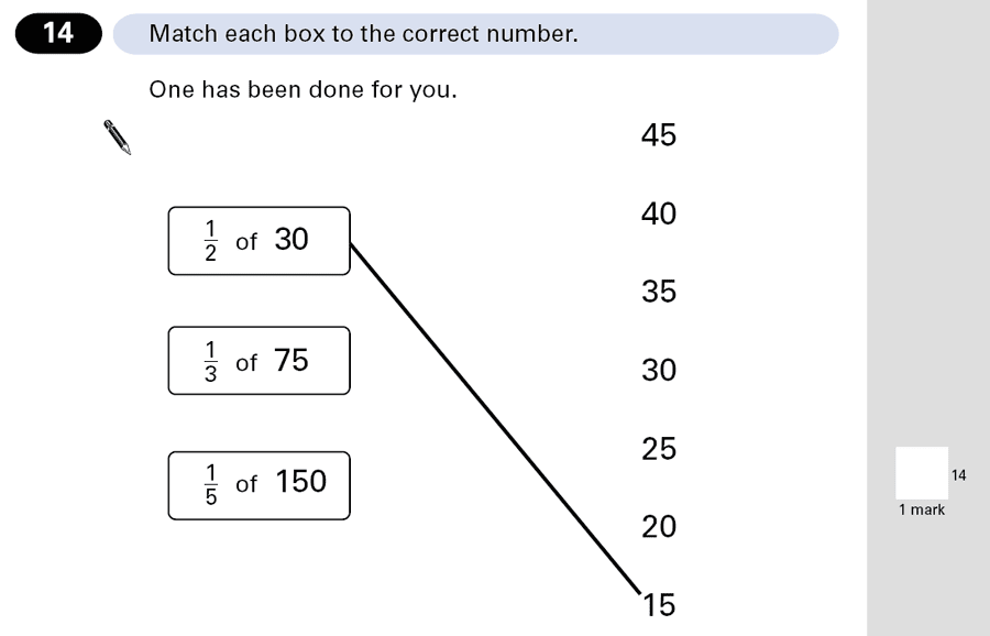 Question 14 Maths KS2 SATs Papers 2001 - Year 6 Past Paper 2, Numbers, Fractions