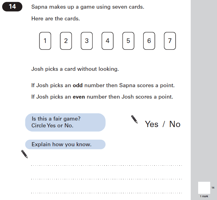 Question 14 Maths KS2 SATs Papers 2005 - Year 6 Past Paper 1, Numbers, Even and odd Numbers, Probability