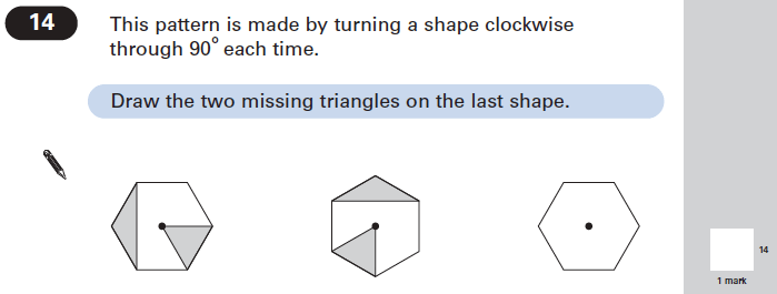 Question 14 Maths KS2 SATs Papers 2005 - Year 6 Past Paper 2, Geometry, 2D shapes, Rotations