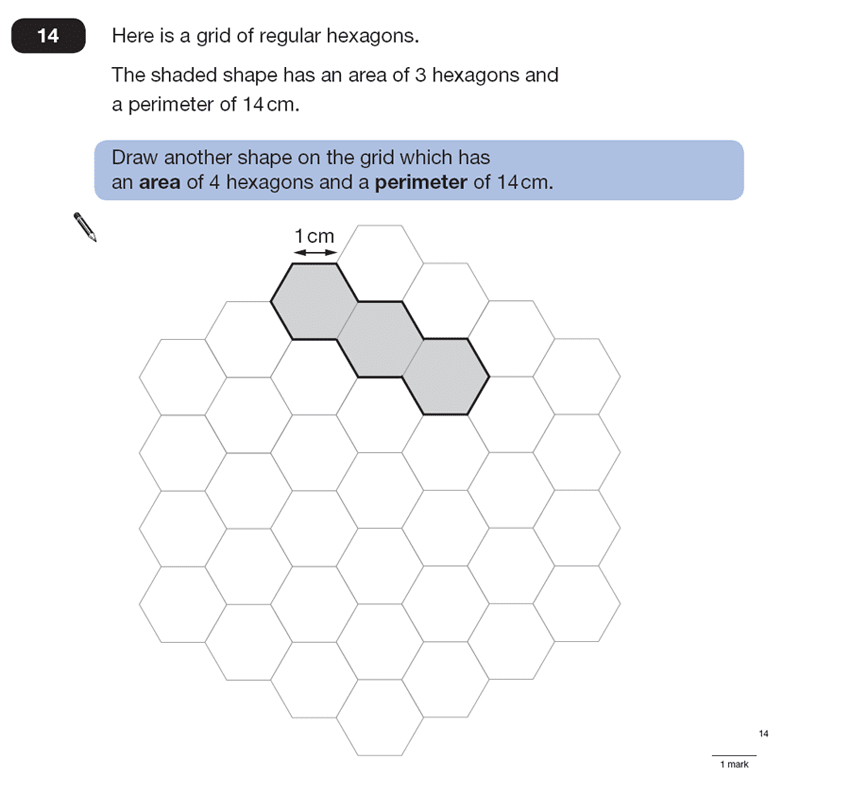 Question 14 Maths KS2 SATs Papers 2007 - Year 6 Practice Paper 1, Geometry, Polygons, Area & Perimeter, 2D shapes