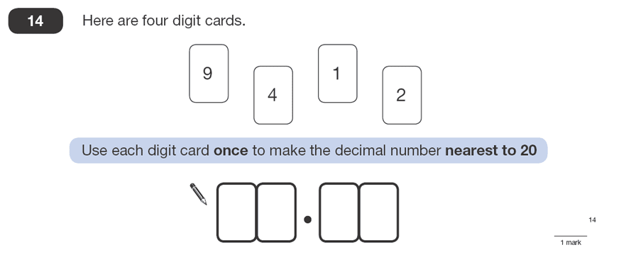 Question 14 Maths KS2 SATs Papers 2008 - Year 6 Sample Paper 1, Numbers, Decimals