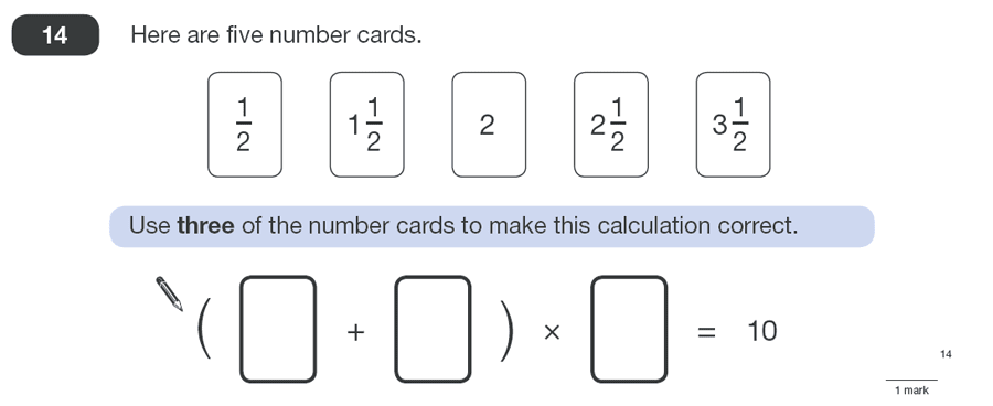 Question 14 Maths KS2 SATs Papers 2010 - Year 6 Sample Paper 1, Numbers, Fractions, Algebra, BIDMAS