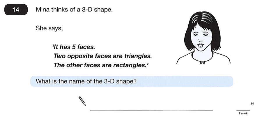 Question 14 Maths KS2 SATs Papers 2012 - Year 6 Sample Paper 2, Geometry, 3D shapes