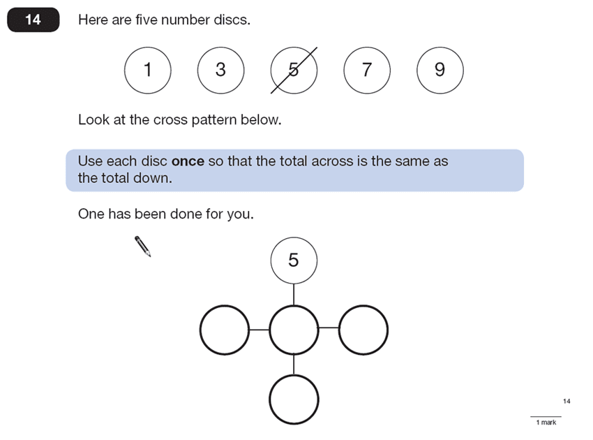 Question 14 Maths KS2 SATs Papers 2013 - Year 6 Sample Paper 2, Numbers, Addition, Logical Problems