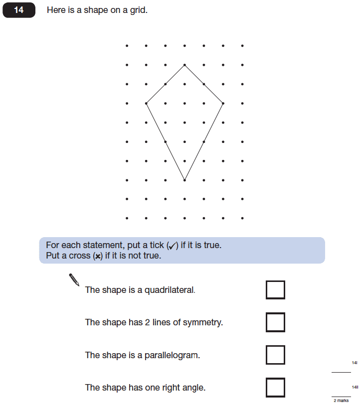 Question 14 Maths KS2 SATs Papers 2014 - Year 6 Practice Paper 1, Geometry, Angles, Polygons, Lines of Symmetry
