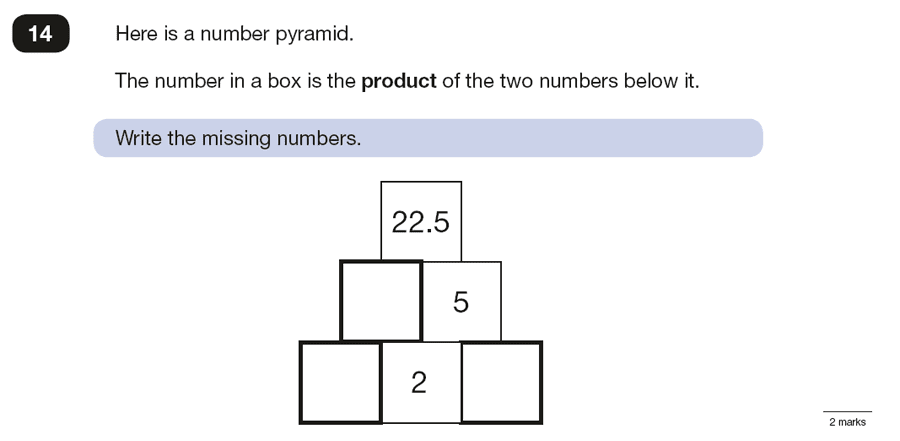 Question 14 Maths KS2 SATs Papers 2016 - Year 6 Practice Paper 3 Reasoning, Numbers, Multiplication