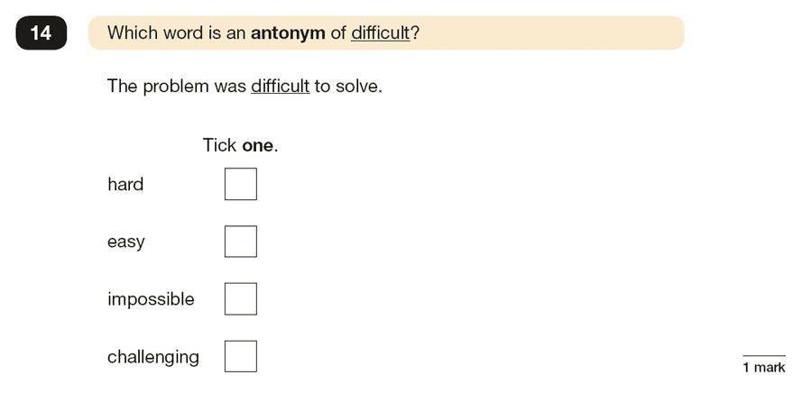 Question 14 SPaG KS2 SATs Papers 2019 - Year 6 English Practice Paper 1, Vocabulary