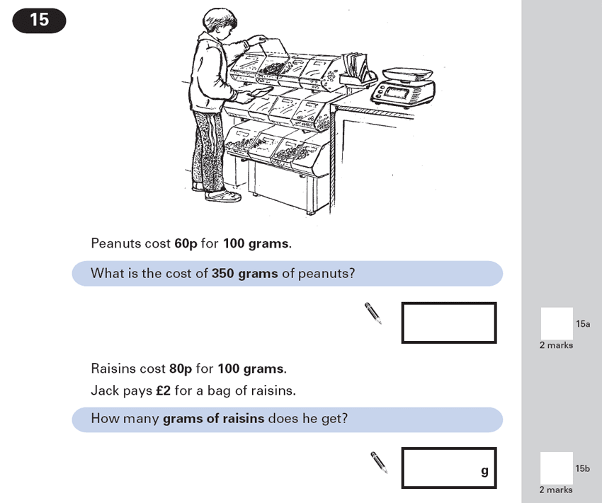 Question 15 Maths KS2 SATs Papers 2000 - Year 6 Sample Paper 1, Ratio & Proportion, Money