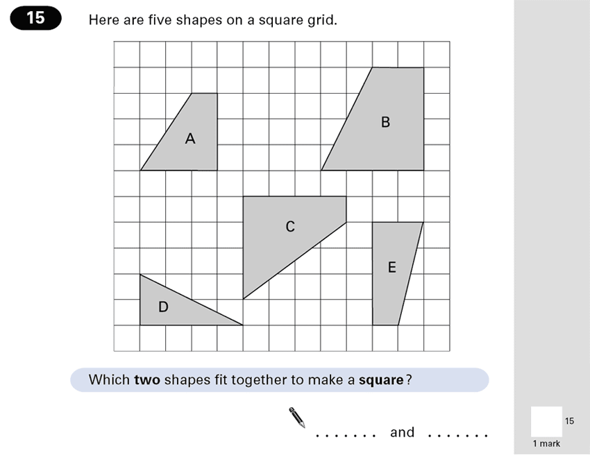 Question 15 Maths KS2 SATs Papers 2001 - Year 6 Sample Paper 2, Geometry, Square, 2D shapes