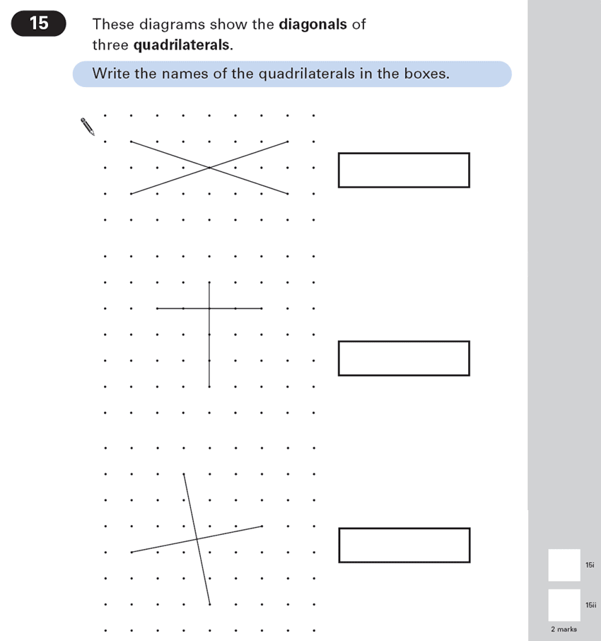 Question 15 Maths KS2 SATs Papers 2003 - Year 6 Sample Paper 1, Geometry, 2D shapes, Polygons
