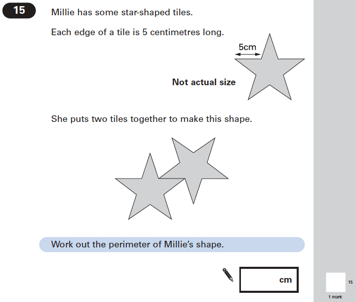 Question 15 Maths KS2 SATs Papers 2004 - Year 6 Sample Paper 1, Geometry, 2D shapes, Area & Perimeter
