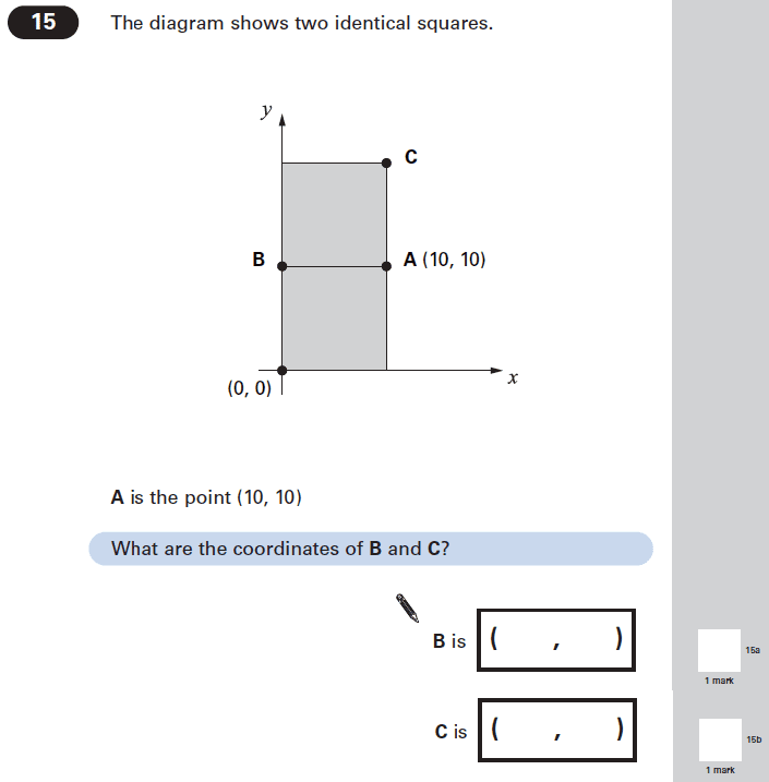 Question 15 Maths KS2 SATs Papers 2005 - Year 6 Sample Paper 2, Geometry, Square, Coordinates